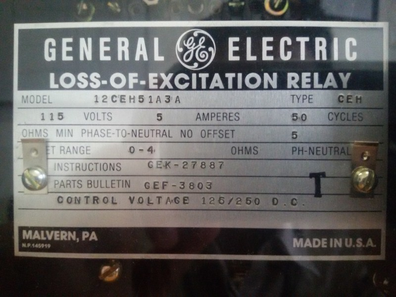 RELAY  LOSS OF EXCITATION (40)