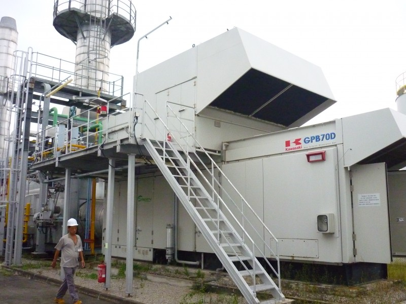 EQUIPMENT UNDER REVIEW BY POTENTIAL BUYER - COGEN PLANT: LOW HOURS KAWASAKI (GPB70D) 5.6MW GAS TURBINE + HRSG FOR SALE