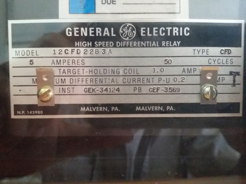 RELAY GENERATOR DIFFERENTIAL (87G)