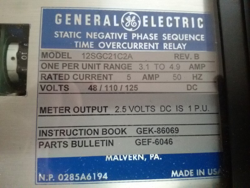RELAY STATIC NEGATIVE PHASE SEQUENCE (46)-NEW